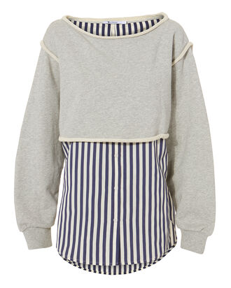 Boatneck Striped Combo Pullover, GREY, hi-res