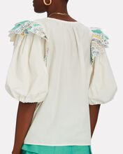 Linden Patchwork Puff Sleeve Top, WHITE, hi-res
