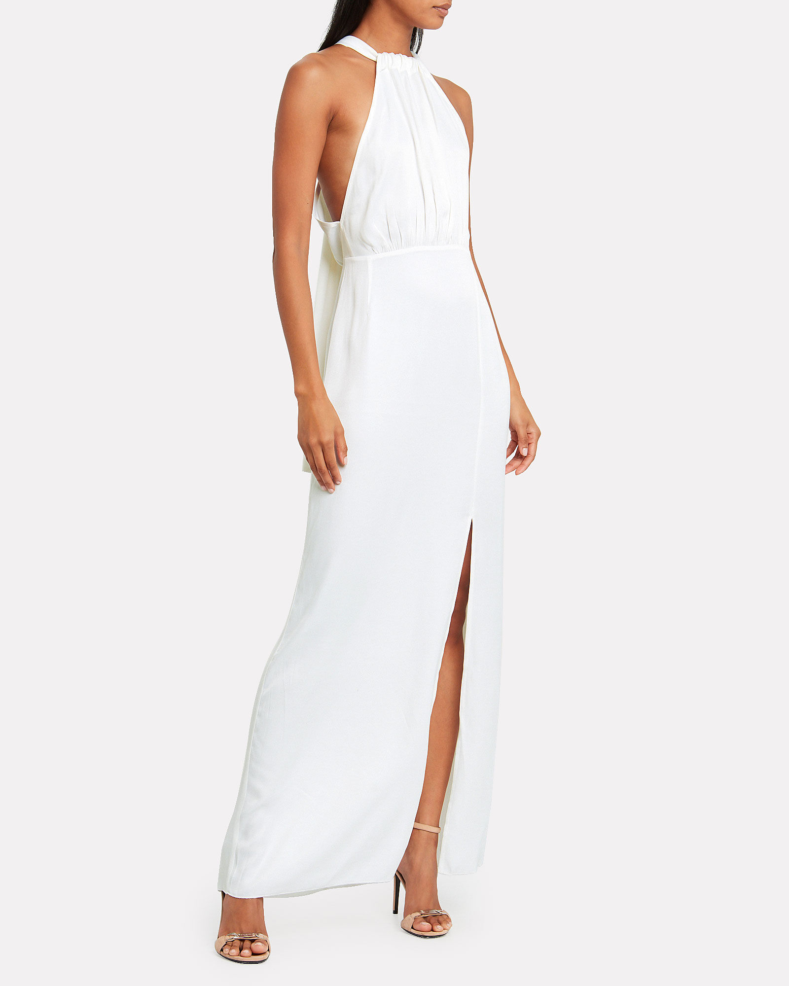 No. 39 Jersey Column Gown, WHITE, hi-res