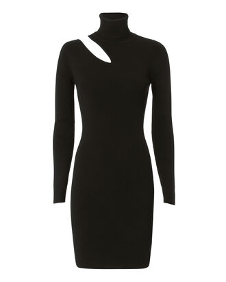 West Dress Cutout Black Turtleneck Dress, BLACK, hi-res