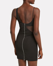 Draped Tulle Crepe Mini Dress, BLACK, hi-res