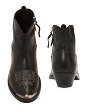 Young Western Leather Booties, BLACK, hi-res