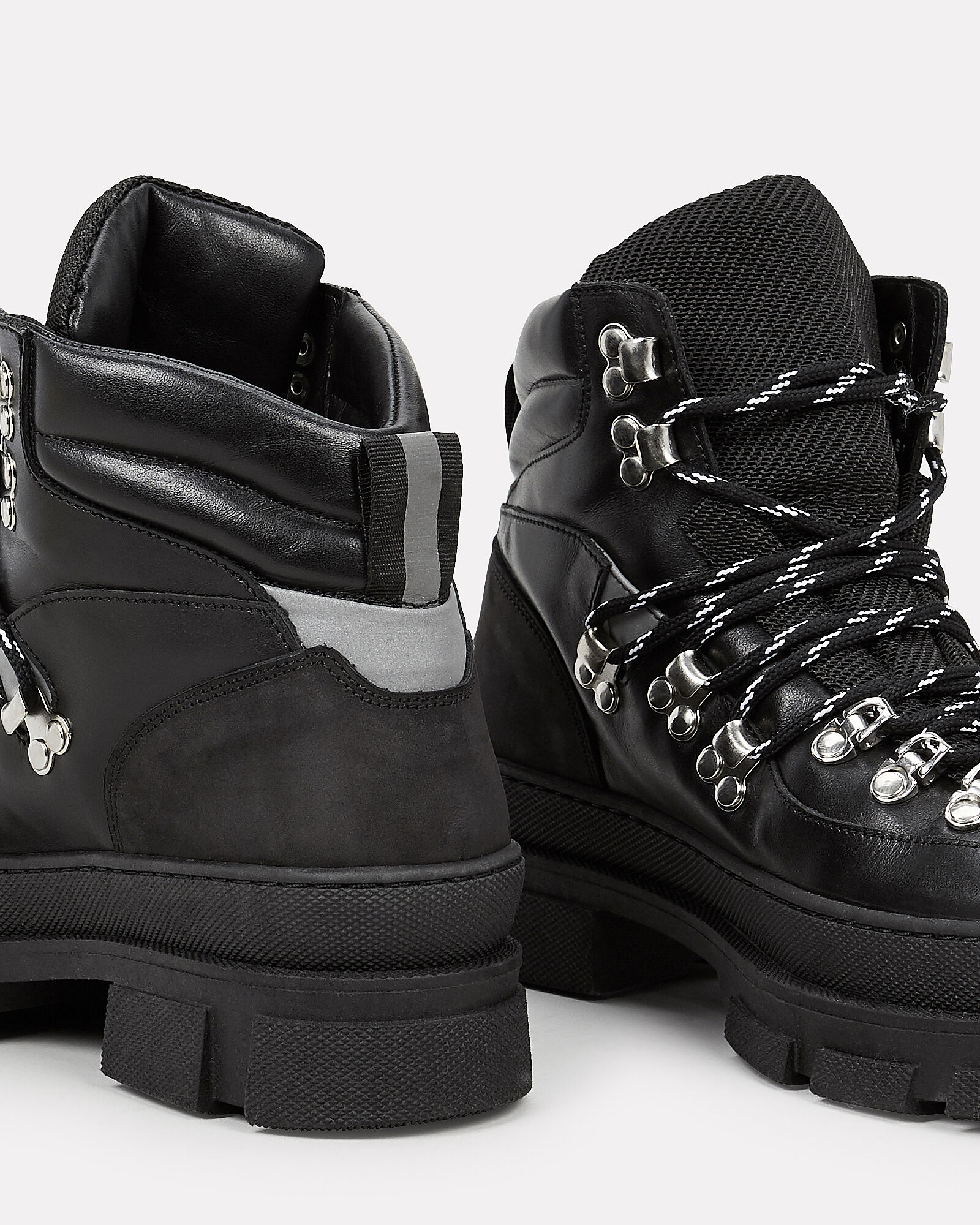 Sporty Hiker Lace-Up Booties, BLACK, hi-res