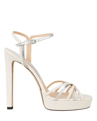 Lilah 130 Metallic Platform Sandals, WHITE, hi-res