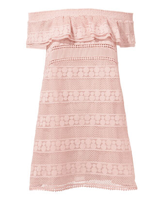 Ania Off Shoulder Lace Tunic, PINK, hi-res