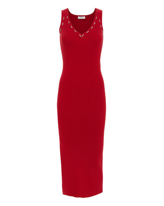 Metal Detail Red Knit Midi Dress, RED, hi-res