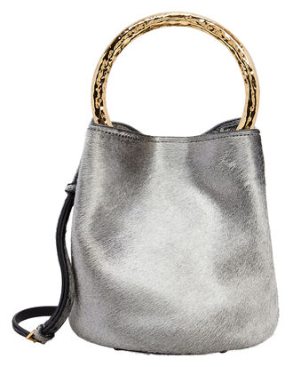 Silver Haircalf Bucket Bag, SILVER, hi-res