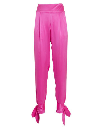 Satin Ankle Tie Pants, BRIGHT PINK, hi-res