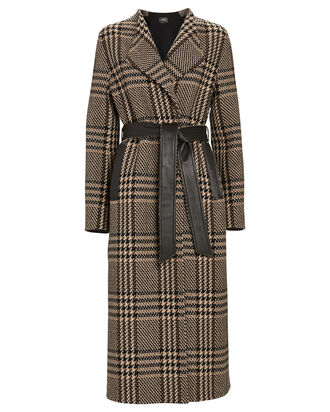 Rosa Plaid Wrap Coat, BROWN/BEIGE, hi-res