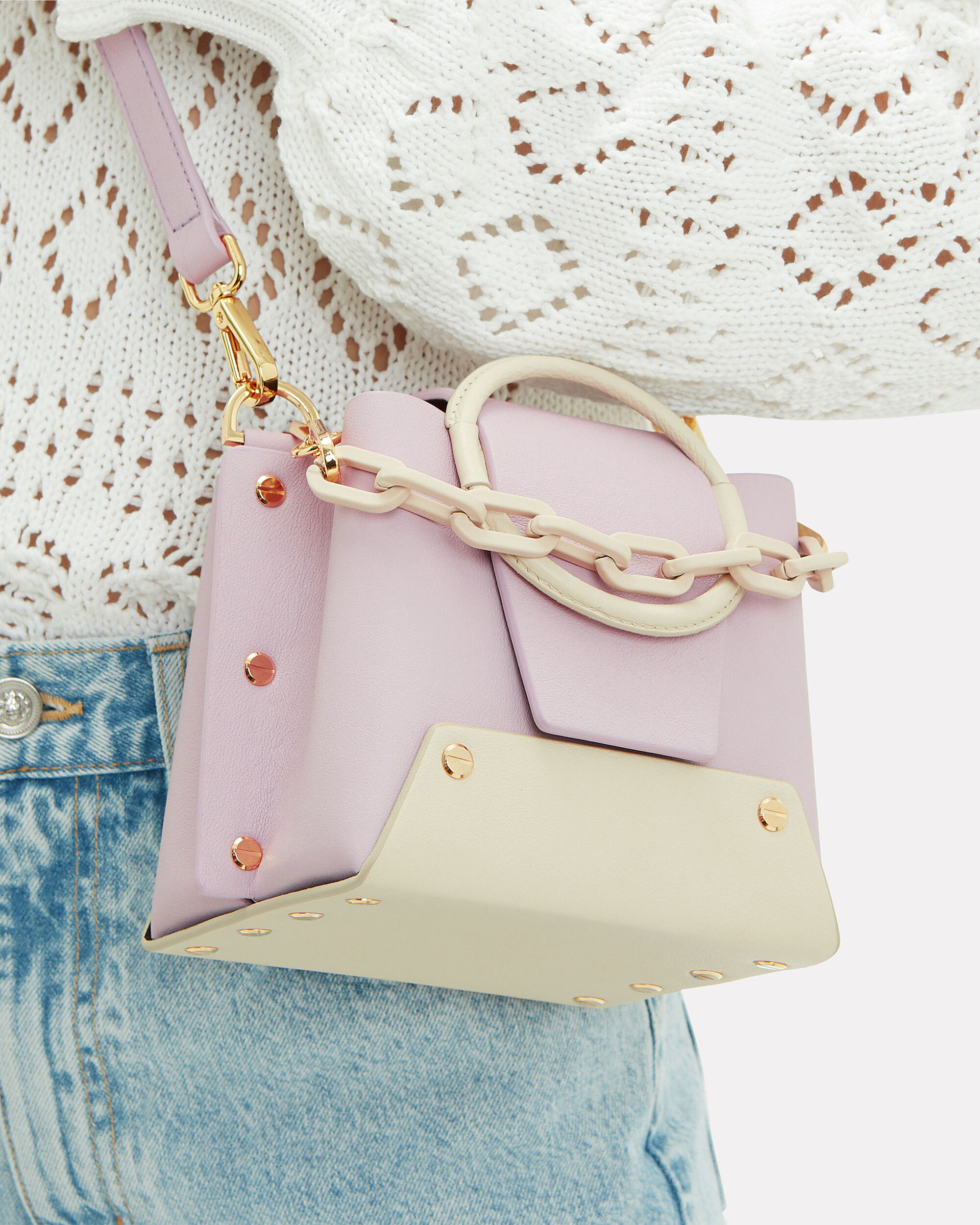 Delila Lilac Two-Tone Chain Bag, LILAC/IVORY, hi-res