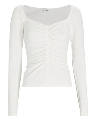 Halley Ruched Long Sleeve T-Shirt, WHITE, hi-res
