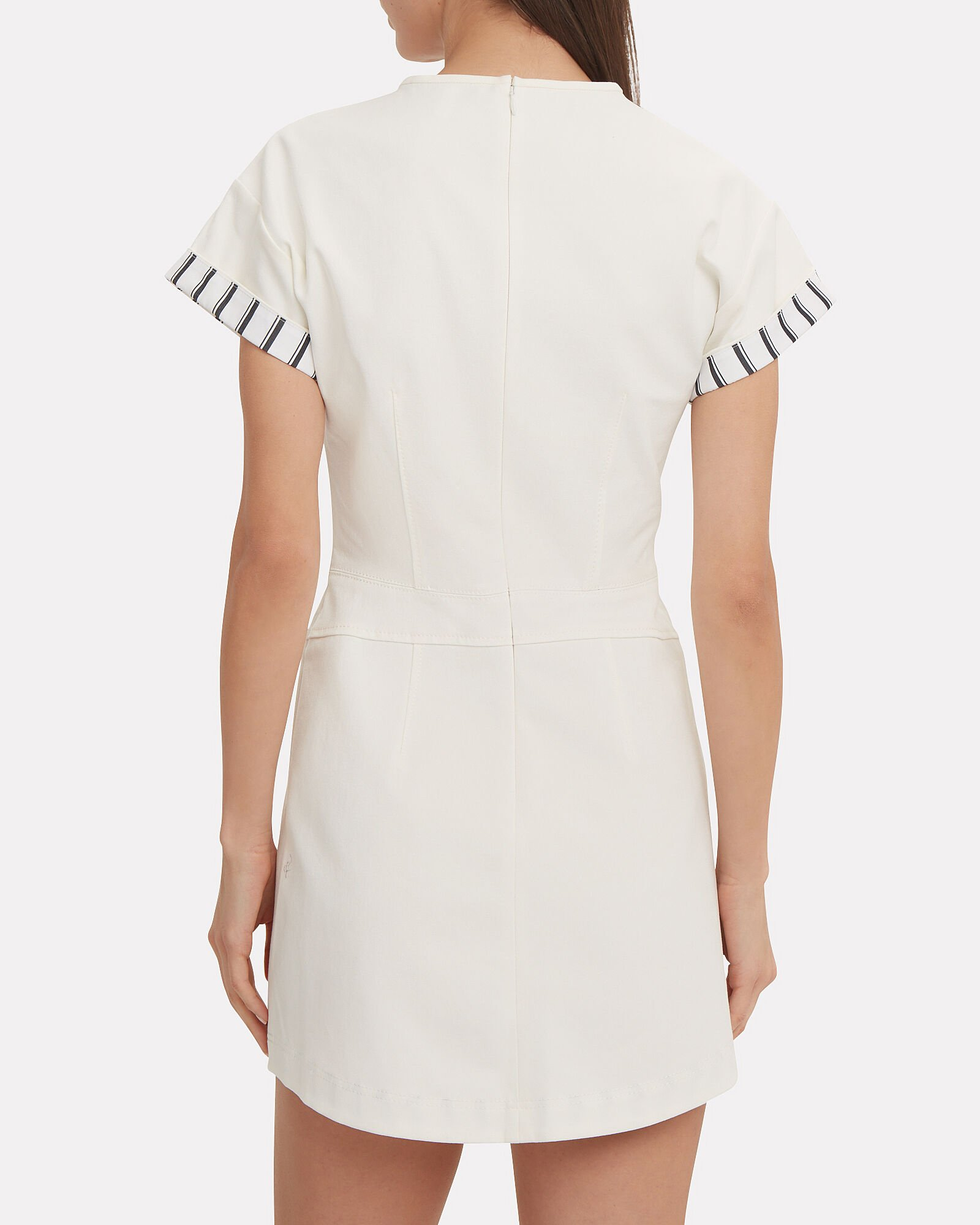 Striped Sleeve Cotton T-Shirt Dress, WHITE, hi-res