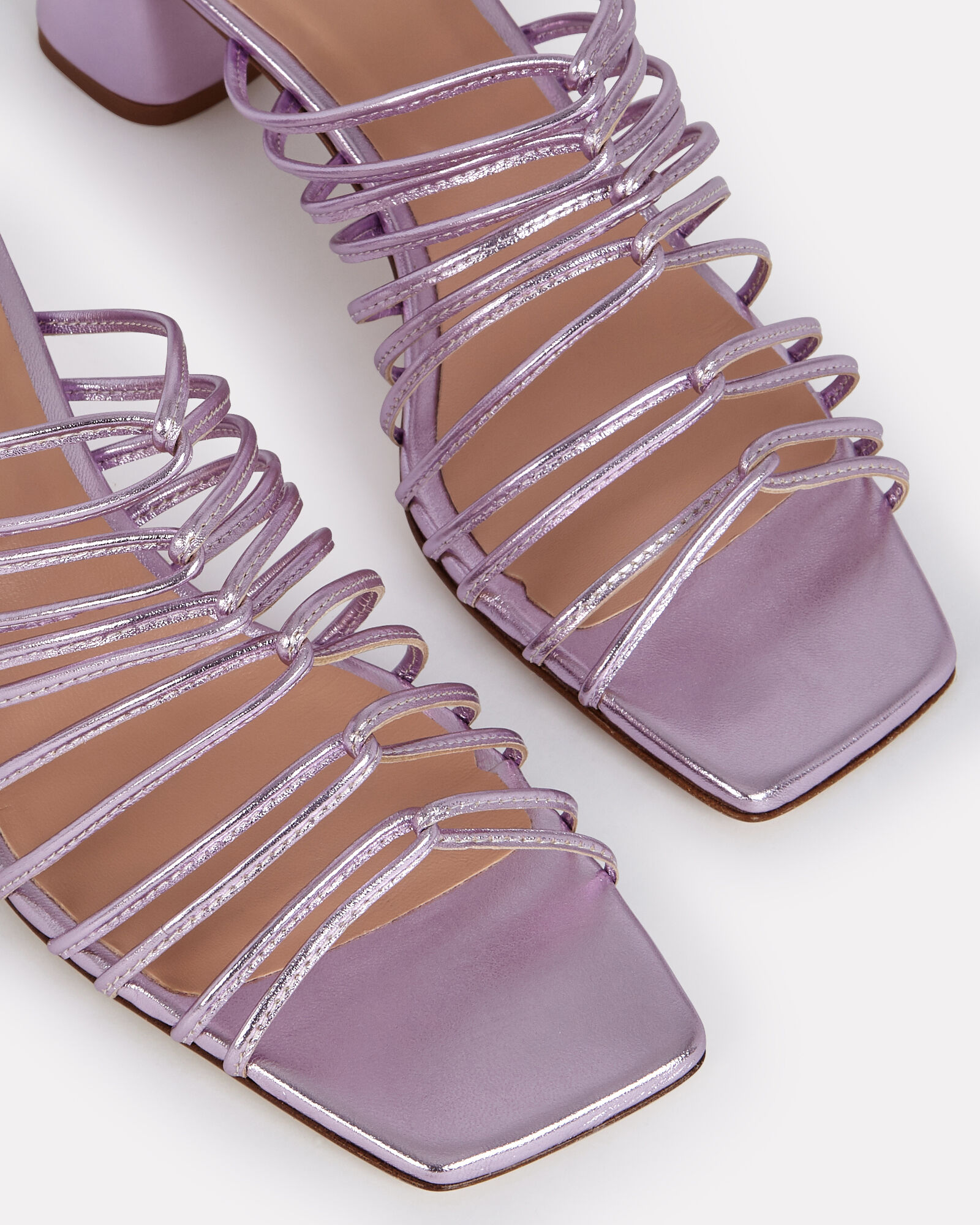 Pearl Strappy Leather Sandals, PURPLE-LT, hi-res