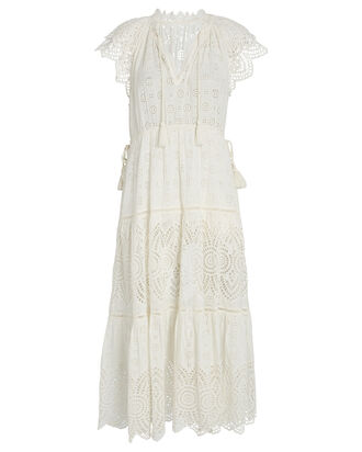 Gianna Eyelet Midi Dress, WHITE, hi-res