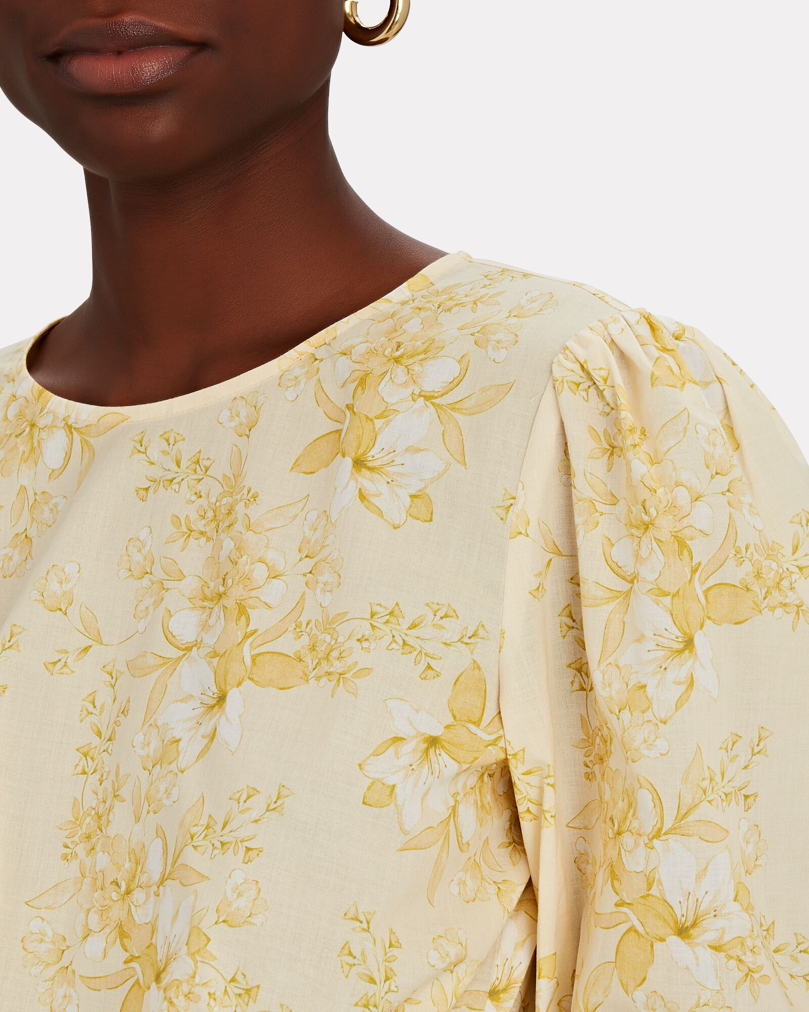 Poppy Floral Puff Sleeve Crop Top, YELLOW, hi-res