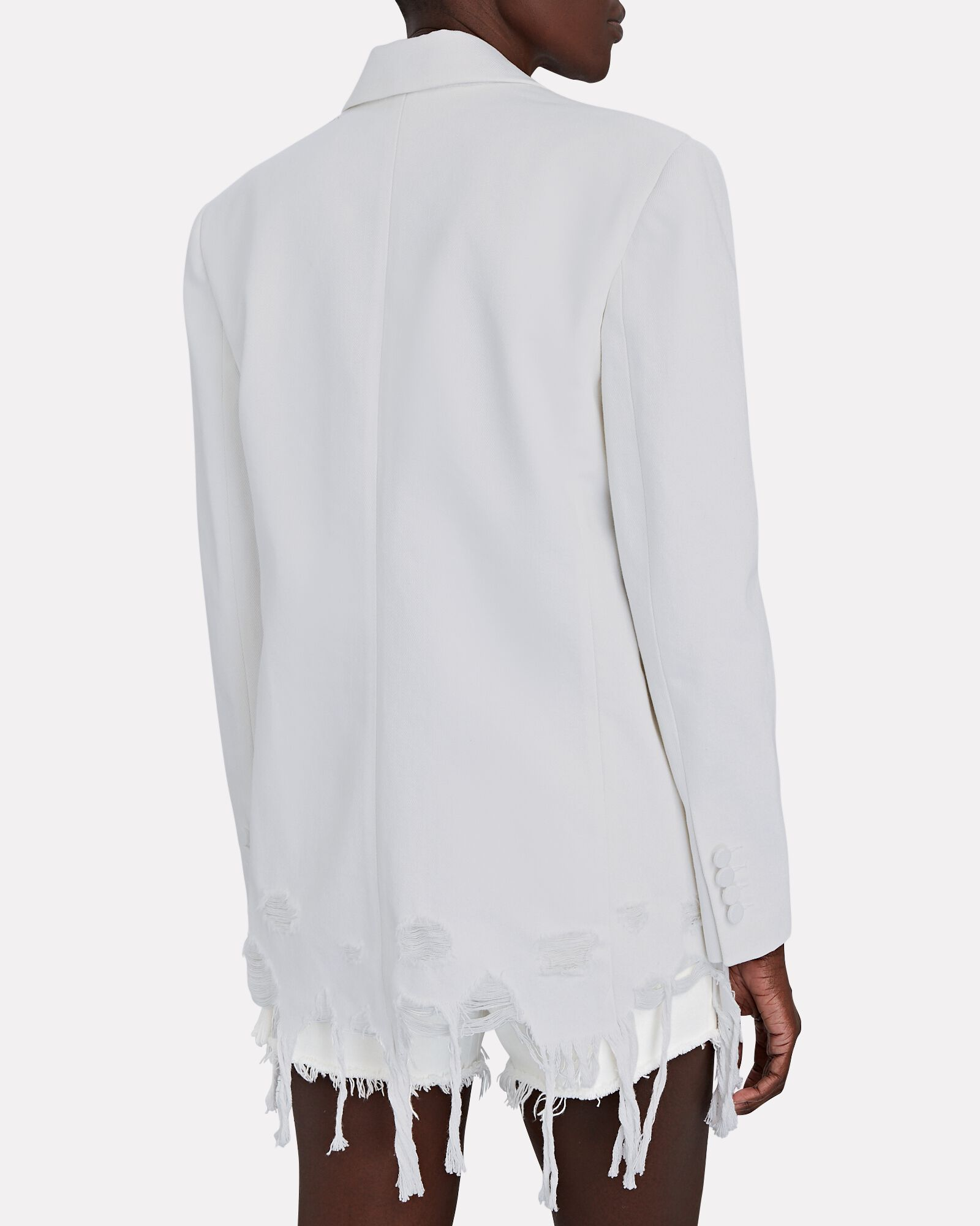 Frayed Double-Breasted Denim Blazer, WHITE, hi-res