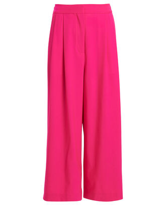 High-Rise Pleated Wool Culottes, HOT PINK, hi-res