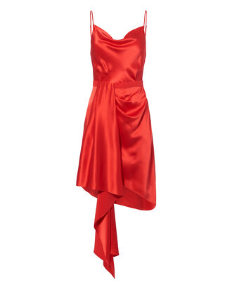 Cascade Red Satin Dress, RED, hi-res