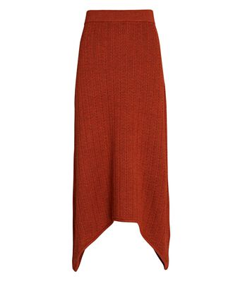 Cable Knit Wool Midi Skirt, RUST, hi-res
