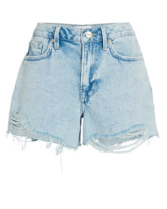 Le Brigette Denim Cut-Off Shorts, WHISPER DESTRUCT, hi-res