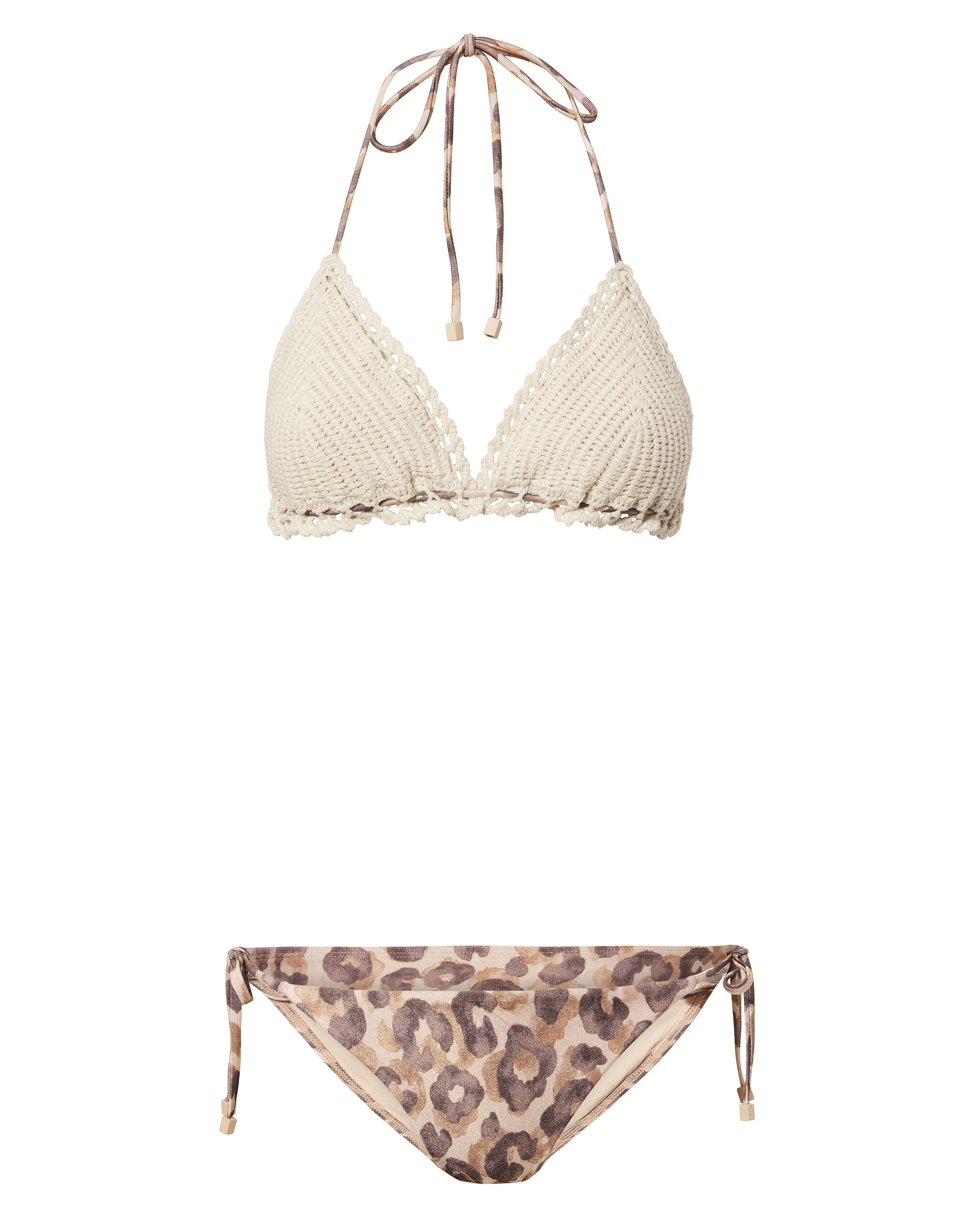 Melody Crochet And Animal Print Bikini, MULTI, hi-res