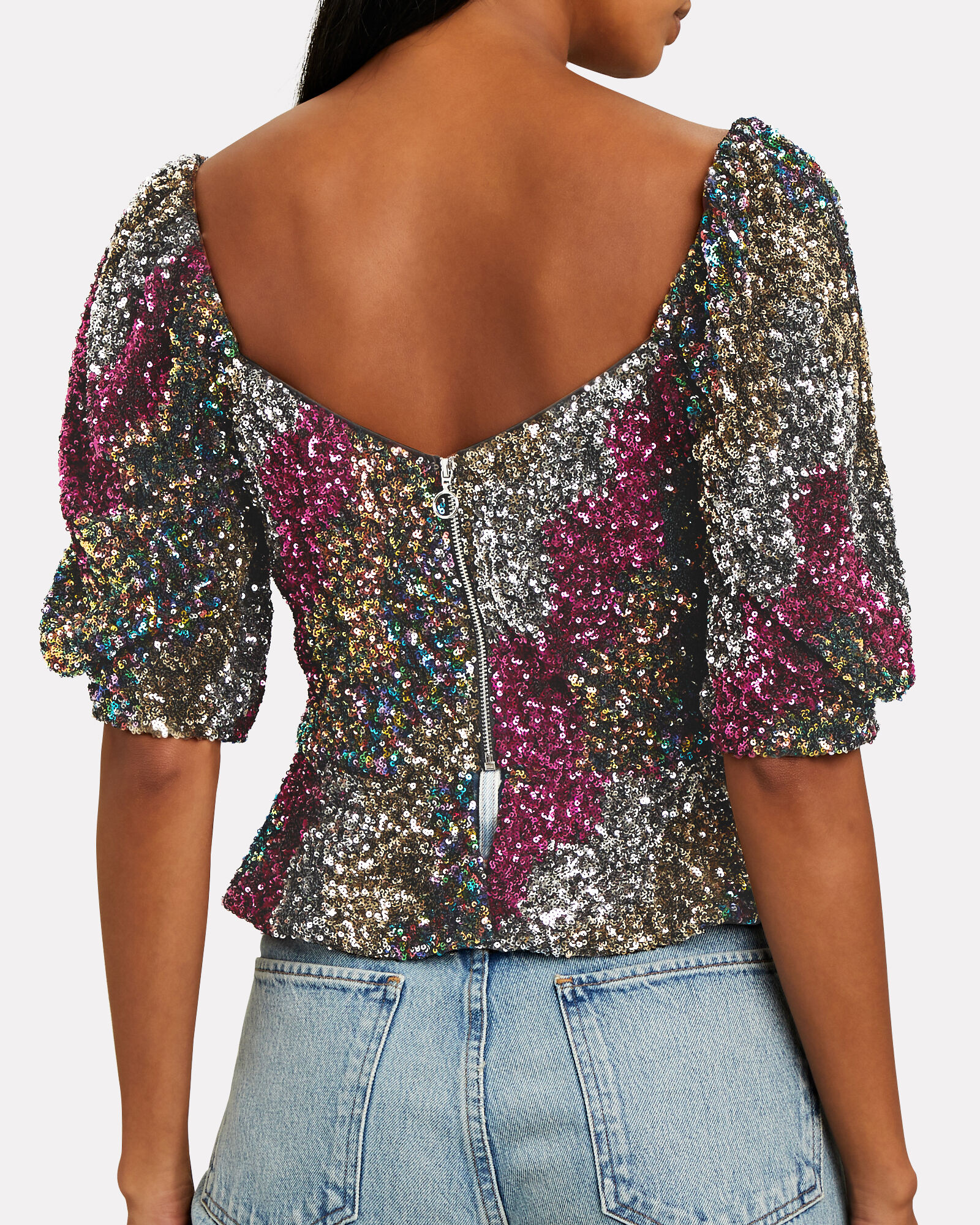 Tyler Sequinned Puff Sleeve Top, MAGENTA/SILVER, hi-res