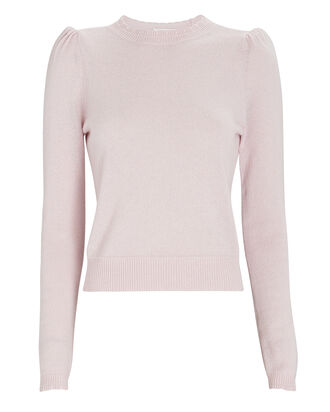 Madeline Cashmere Puff Shoulder Sweater, LIGHT PINK, hi-res