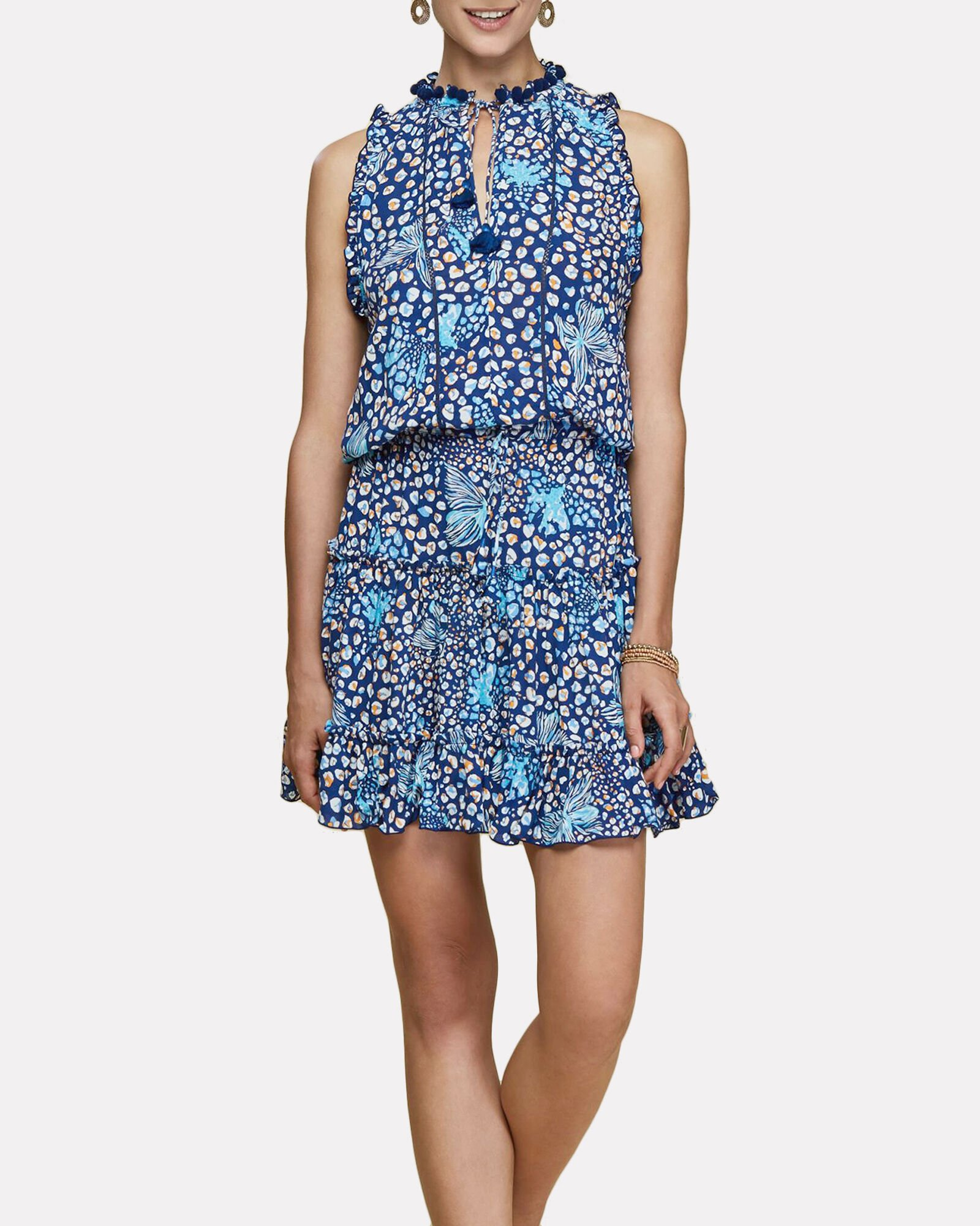 Clara Butterfly Print Mini Dress, NAVY, hi-res