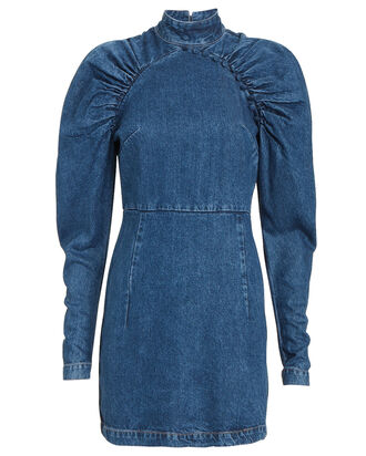 Kim Ruched Chambray Mini Dress, DENIM, hi-res