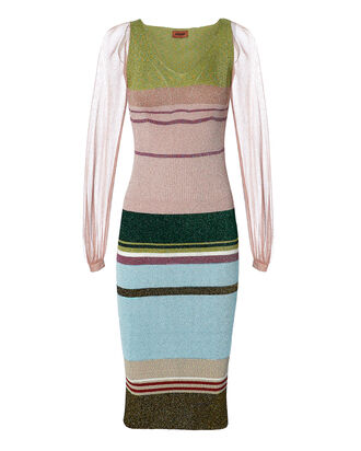 Sheer Sleeve Striped Lurex Dress, MULTI, hi-res