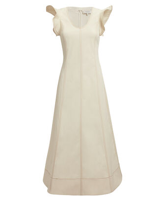 Stella Flutter Sleeve Midi Dress, IVORY, hi-res
