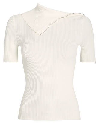 Featherweight Ribbed Turtleneck Tee, IVORY, hi-res