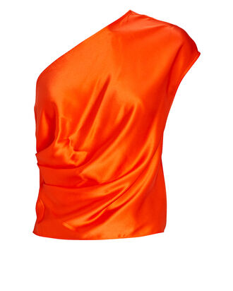 One-Shoulder Draped Silk Top, ORANGE, hi-res