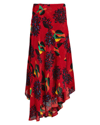 Martha Parrot Devoré Handkerchief Skirt, RED/GREEN PRINT, hi-res