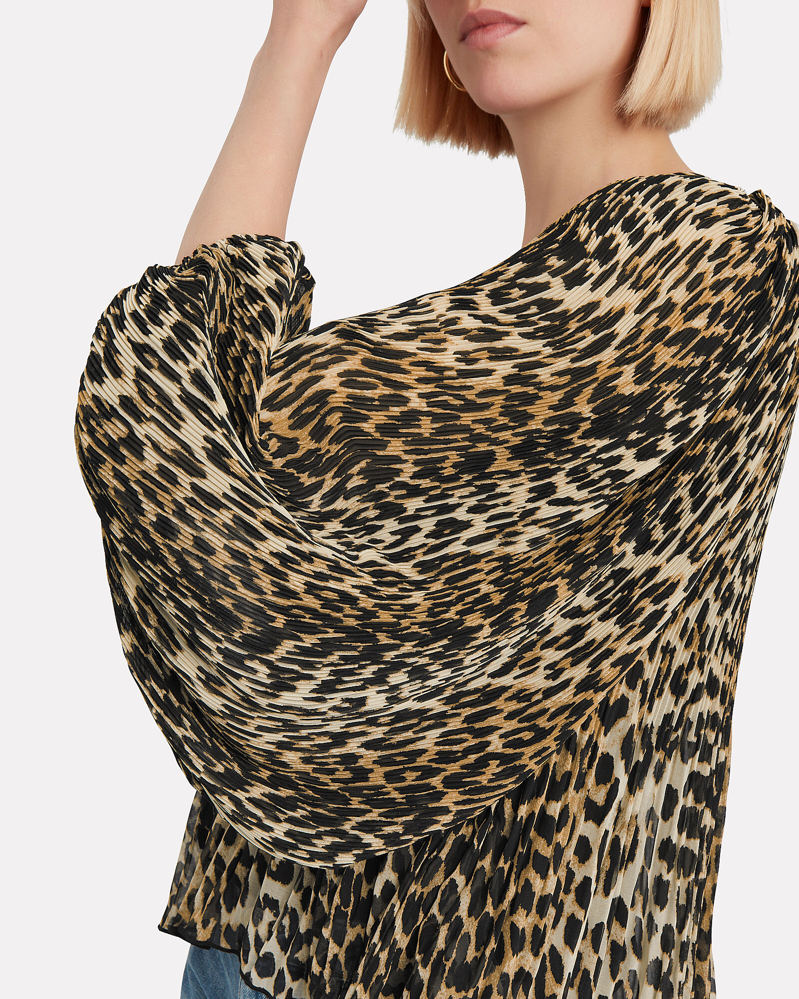 Pleated Georgette Leopard Top, LEOPARD, hi-res