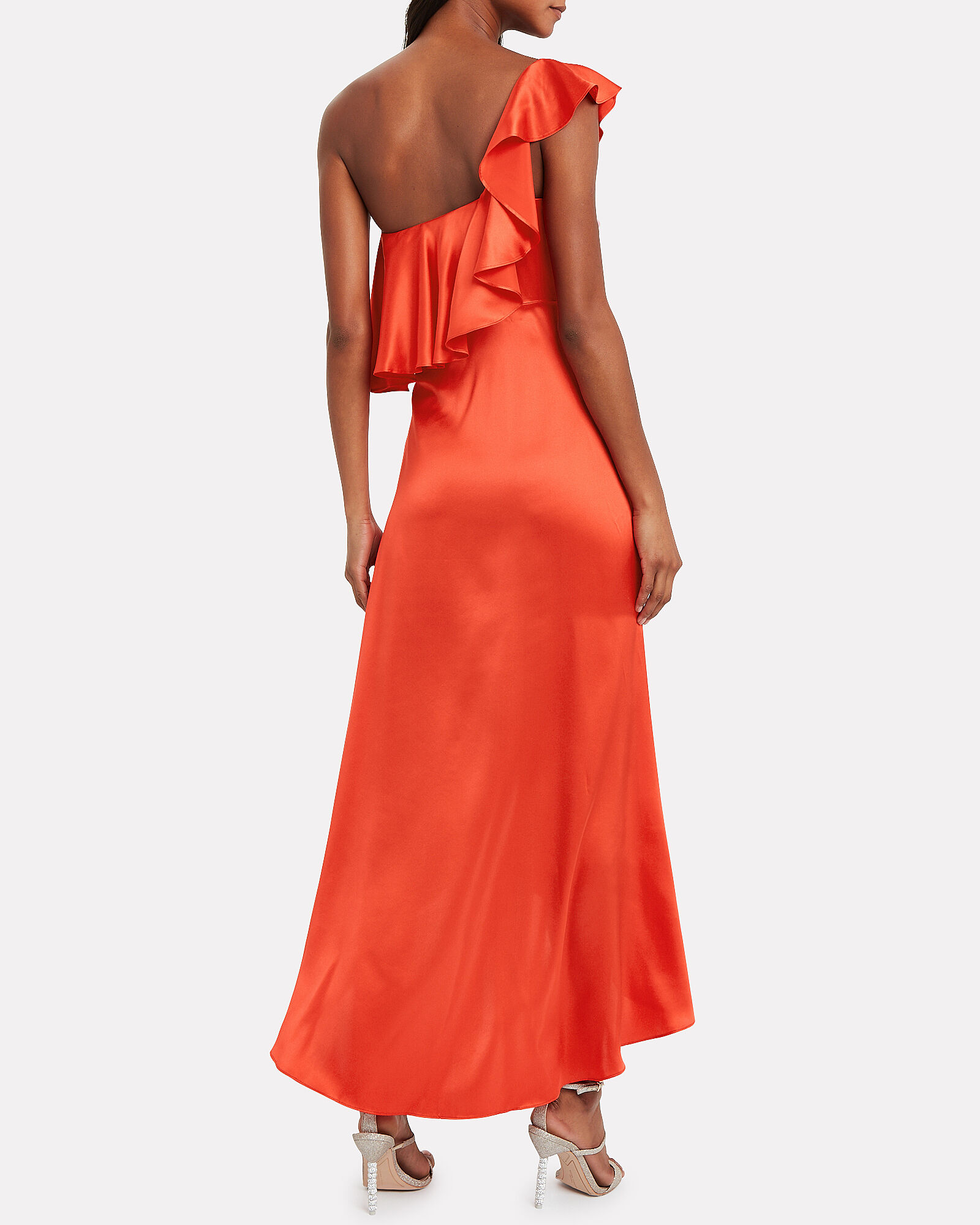 Austyn Silk One Shoulder Dress, RED, hi-res