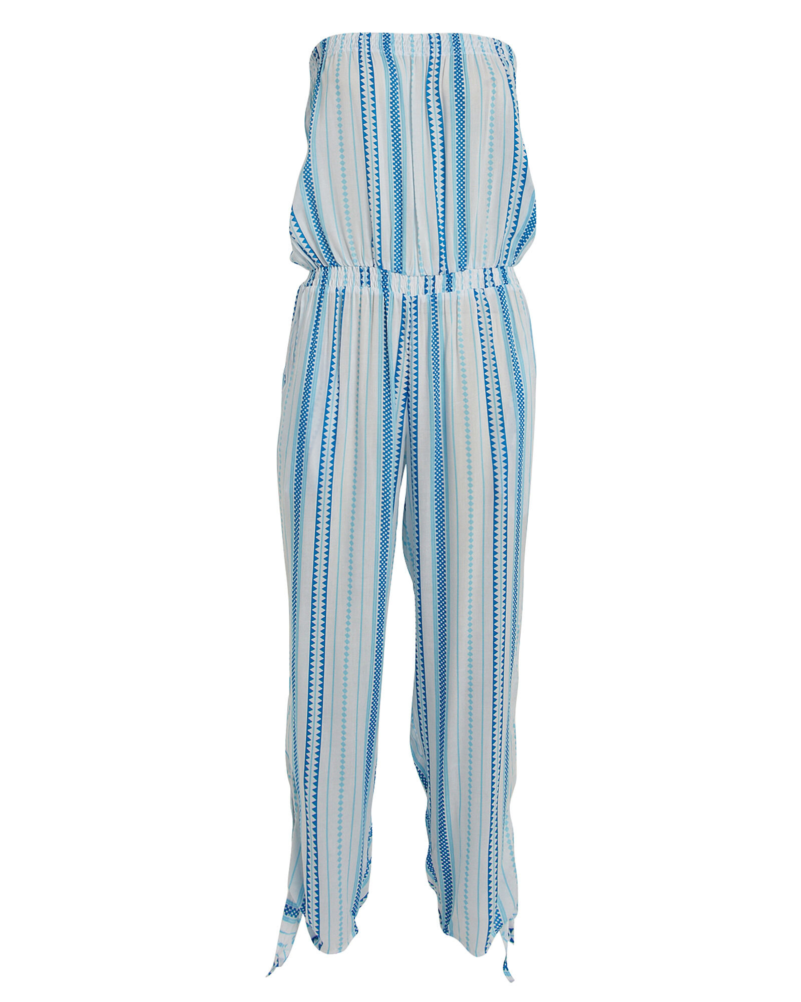 Maya Strapless Horizon Jumpsuit, AQUA/WHITE, hi-res