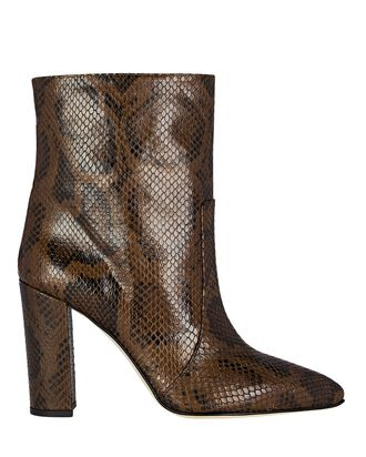 Python-Embossed Leather Ankle Boots, BROWN, hi-res