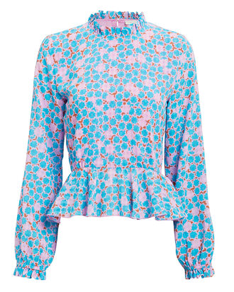Shirley Checkered Stardot Blouse, BLUE, hi-res