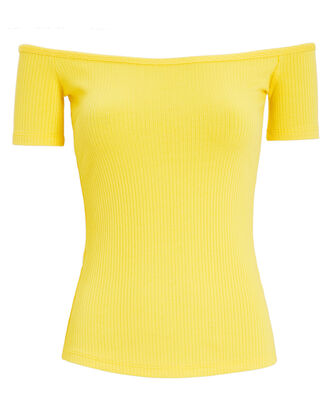 Ribbed Off-The-Shoulder Top, YELLOW, hi-res