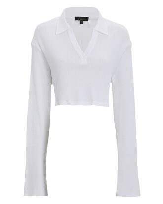 Stark Cropped Waffle Knit Polo Top, WHITE, hi-res
