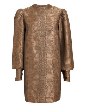 Baylee Lizard Jacquard Mini Dress, GOLD, hi-res