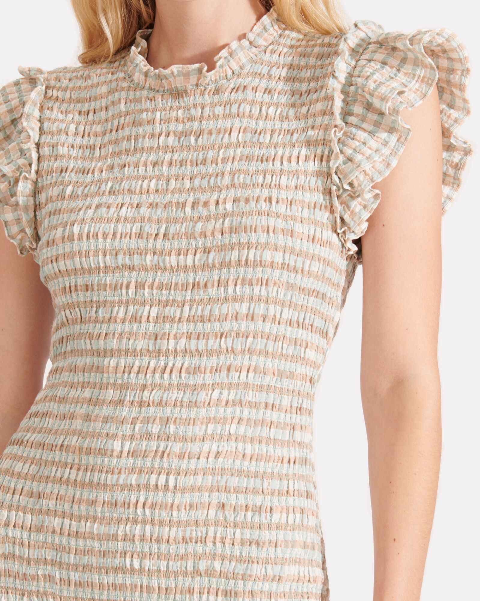 Cici Smocked Gingham Dress, BEIGE/TEAL, hi-res
