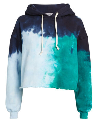 Tie-Dyed Teal Crop Hoodie, TEAL/NAVY/WHITE, hi-res