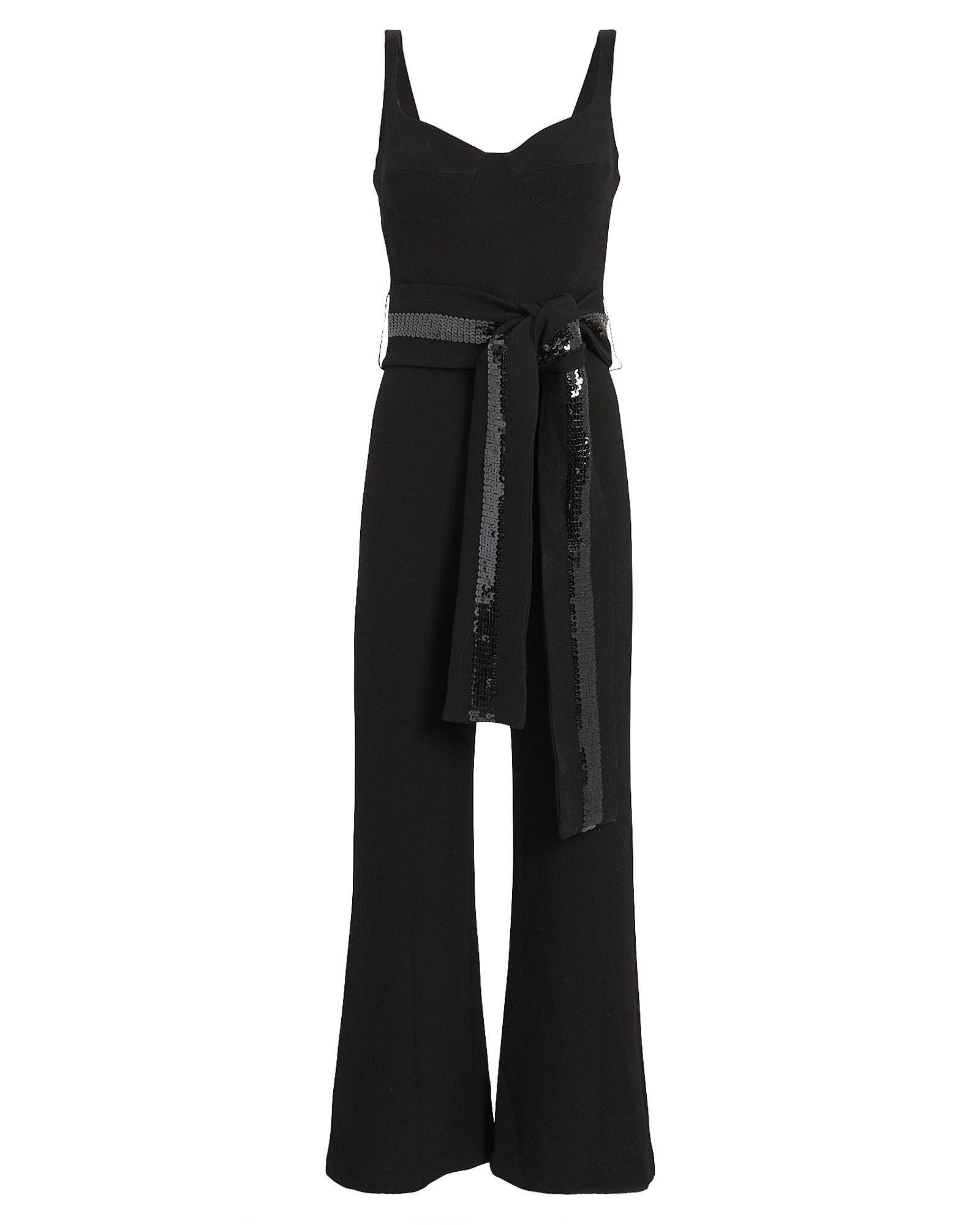Doncella Sleeveless Belted Jumpsuit, BLACK, hi-res