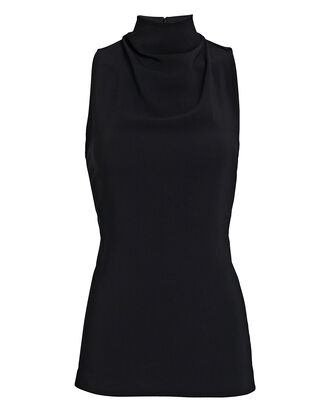 Draped Sleeveless Cady Top, BLACK, hi-res