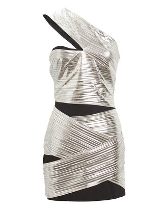 One-Shoulder Lamé Mini Dress, SILVER, hi-res