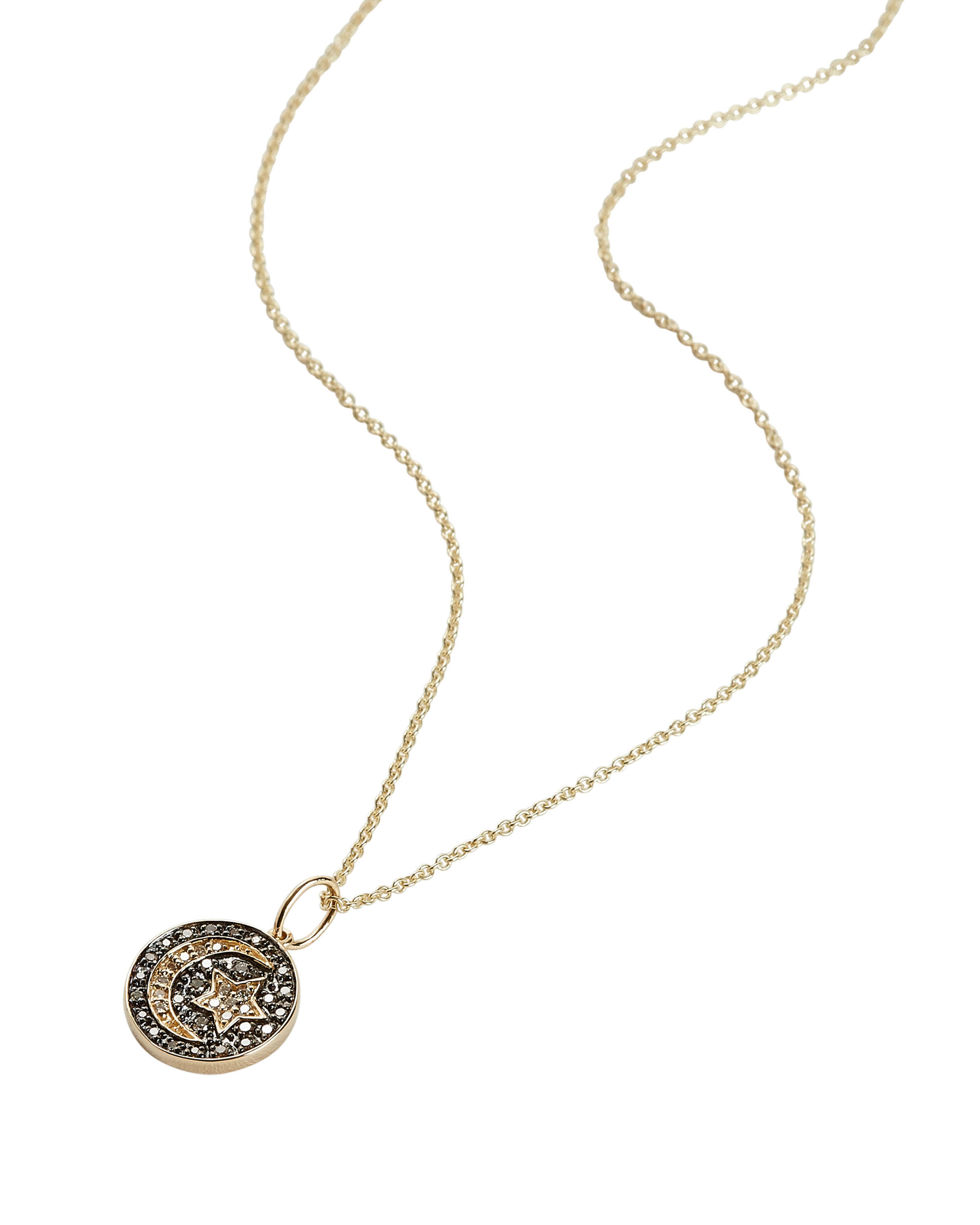 Diamond Moon and Star Pendant Necklace, GOLD, hi-res