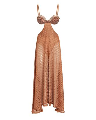 Embellished Cut-Out Maxi Beach Dress, BEIGE, hi-res