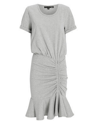 Pima Ruched Mini Dress, LIGHT GREY, hi-res